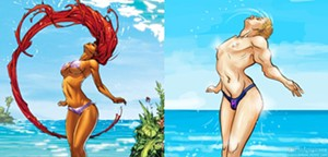 On left, the extraterrestrial Teen Titan, Starfire; on right, the image redrawn for The Hawkeye Initiative by Lauren Armstrong
