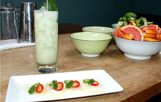 Ono fish taco with the Green Hornet at Mosto. - BRAD JAPHE