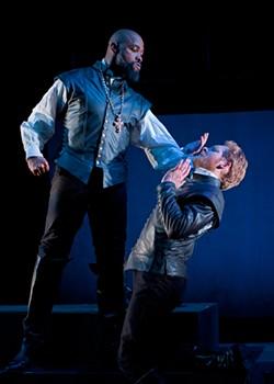 DAVID ALLEN - Othello (Aldo Billingslea) shows Iago (Craig Marker ) what-for.