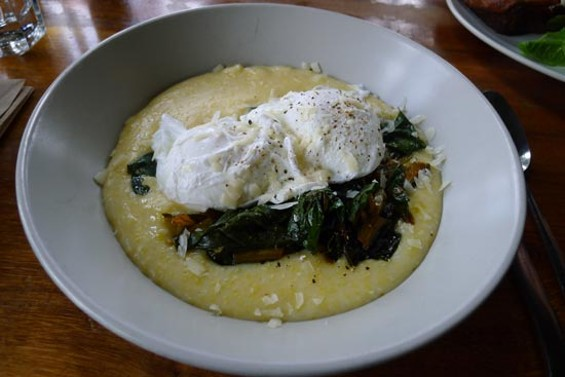 Outerlands' poached eggs with braised greens and creamy grits