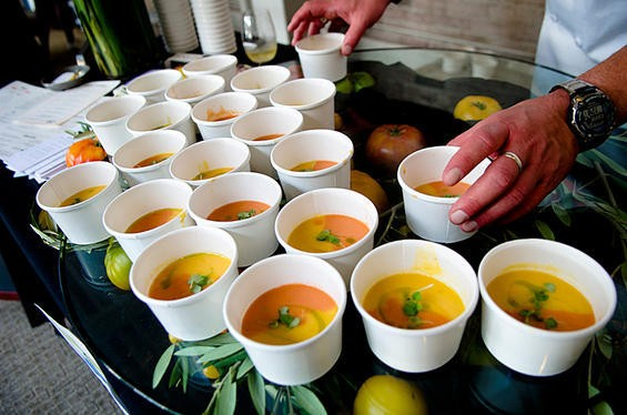 Palomino's heirloom tomato gazpacho was a sweet farewell to the season. - GIL RIEGO, JR.