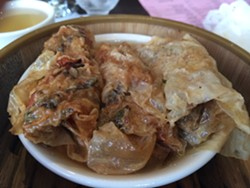 Pan-fried bean curd skin roll with shrimp - PETE KANE