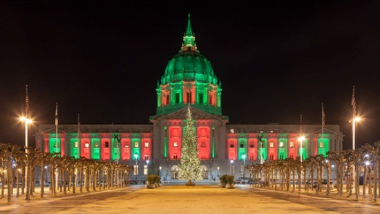 Panorama of San Francisco City Hall illuminated by Christmas lights. - NICKOLAY STANEV/SHUTTERSTOCK