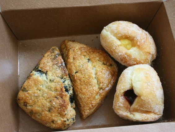 Pastries from Arlequin Cafe: Huckleberry scone (left), rhubarb-ginger scone (center), and filled beignets - JANINE KAHN