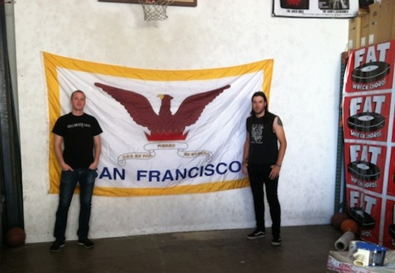Pat Rush (left) and Chad Williams at Fat Wreck Chords' Bayview office.