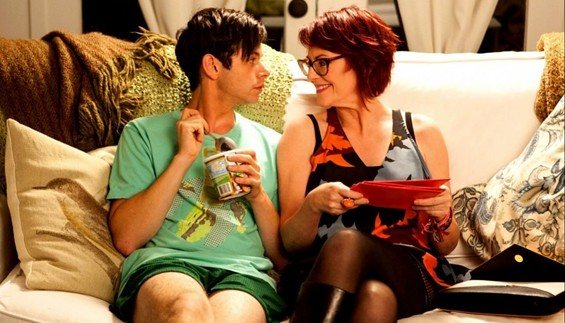 Paul Iacono as Brent, with Megan Mullally as his goofy but loving mom.