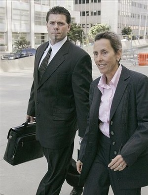 Paula Canny, seen here with client Greg Anderson, says the Barry Bonds case has become 'a guys' contest'