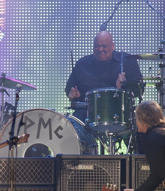 Paul's drummer, Abe Laboriel, Jr., played furiously all night - CHRISTOPHER VICTORIO