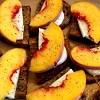 Peach and Mozzarella Fresca Bruschetta on Walnut Bread
