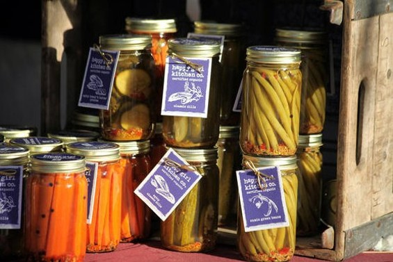 Pickles from Happy Girl Kitchen Co. at the Eat Real Fest, which drew 110,000 to Oakland for street food and urban homesteading demos. - JOSEPH SCHELL
