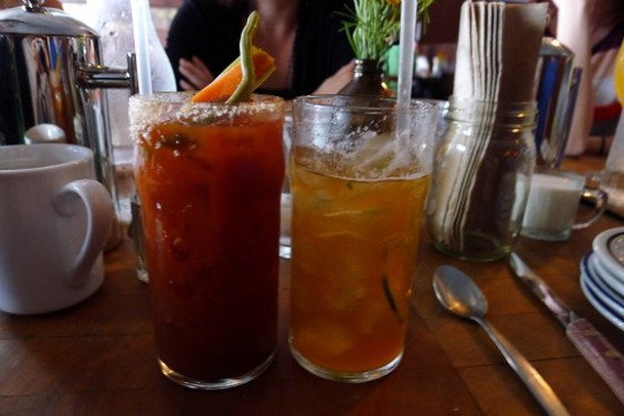 Pimm's Cup and Bloody Hammer - BAKED EGG ON FRESH CORNBREAD