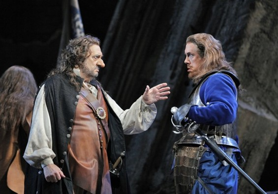 Plácido Domingo (Cyrano de Bergerac) and Stephen Powell (De Guiche) - CORY WEAVER
