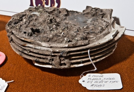 Plates fused together in the aftermath of the 1906 earthquake at the San Francisco Fire Department Museum. - RANDY DODSON