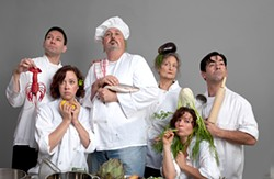 MARK LEIALOHA - Playing with their food: The cast of Word For Word's culinary stories.