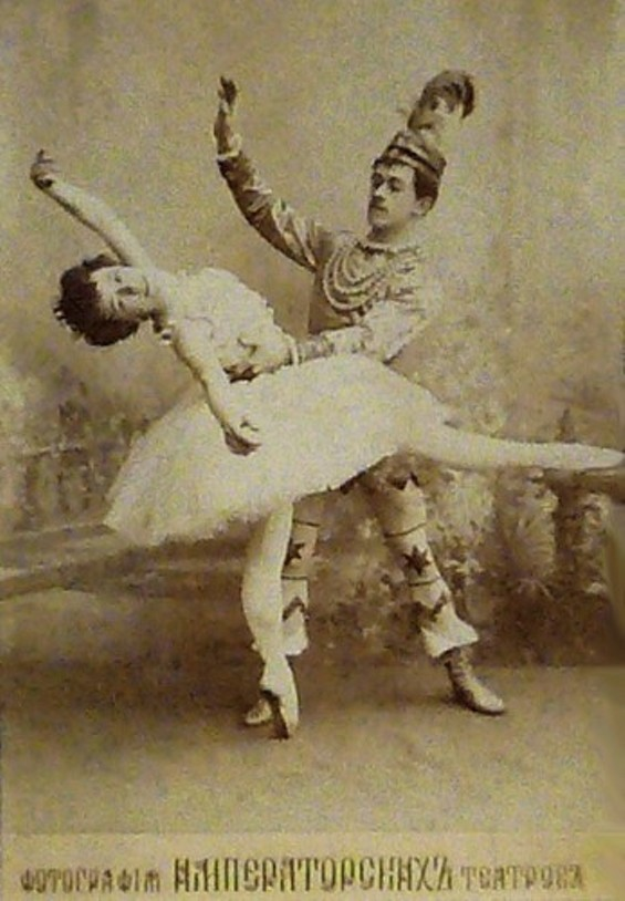 Postcard of the ballerina Olga Preobrajenskaya (1871-1962) as the Sugarplum Fairy and Nikolai Legat (1869-1937) as Prince Coqueluche in the Imperial Ballet's original production of the choreographers Marius Petipa (1818-1910) and Lev Ivanov (1834-1901) & the composer Pyotr Ilyich Tchaikovsky's (1840-1893) 1892