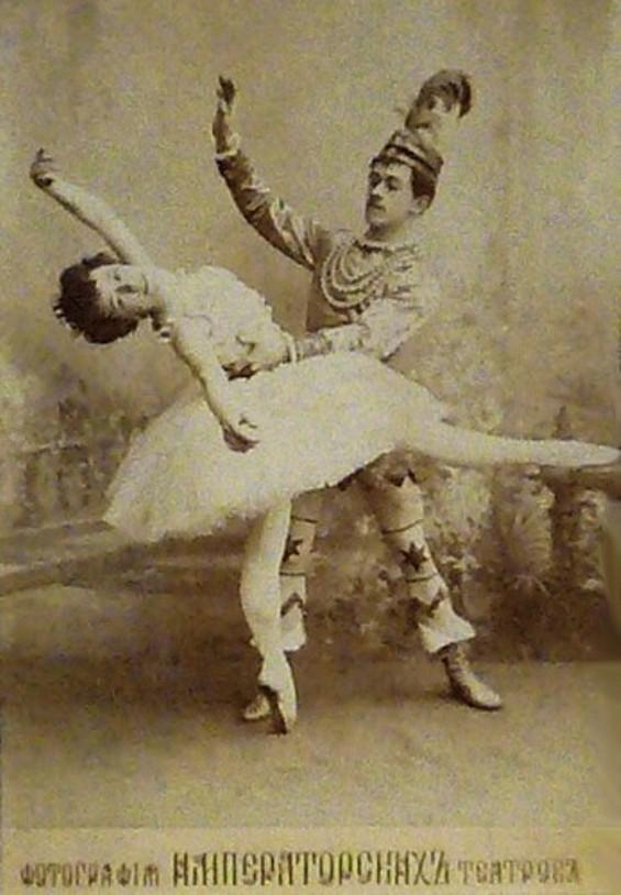 Postcard of the ballerina Olga Preobrajenskaya (1871-1962) as the Sugarplum Fairy and Nikolai Legat (1869-1937) as Prince Coqueluche in the Imperial Ballet's original production of the choreographers Marius Petipa (1818-1910) and Lev Ivanov (1834-1901) & the composer Pyotr Ilyich Tchaikovsky's (1840-1893) 1892