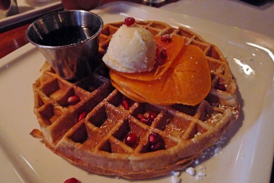 Pumpkin pancakes with black pepper pecans and bourbon bacon marmalade - SWEET POTATO WAFFLE WITH PERSIMMONS, POMEGRANATES AND HONEY BUTTER