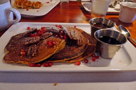 Pumpkin pancakes with black pepper pecans and bourbon bacon marmalade