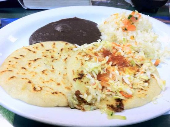 Pupusas revueltas with rice and beans from Montecristo. - JONATHAN KAUFFMAN