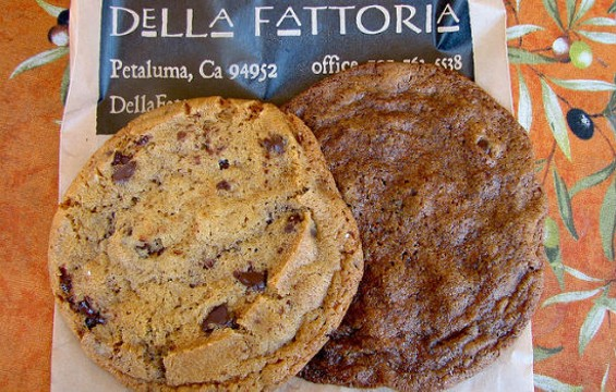 Regular (left) and brown sugar (right) chocolate chip cookies from Della Fattoria. - TARA AUSTEN WEAVER