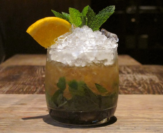 Rickhouse Mint Julep ($12, Custom Four Roses Single Barrel Bourbon, Mandarine Napoleon, mint, spring bitters) - LOU BUSTAMANTE