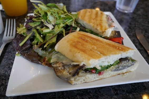 Roasted eggplant sandwich with roasted red peppers and basil aioli