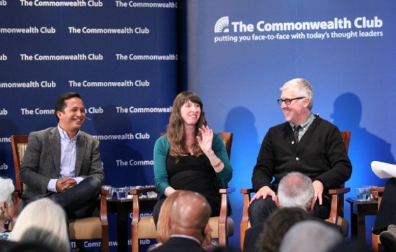 Roasters Jeremy Tooker, Eileen Hassi, and James Freeman talked coffee at the Commonwealth Club on May 28. - JOSEPH GEHA
