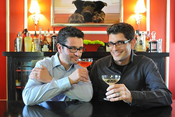 Rob Corwin, left, and Danny Jacobs have come up with a collection of Passover cocktails that correspond to items on the seder plate. - HOMAN LEE/THE SIPPING SEDER