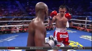 Robert Guerrero, right, had more success at dinner than with Floyd Mayweather