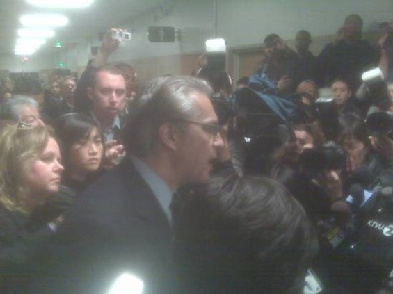 Ross Mirkarimi addresses the press after his sentencing hearing. - ALBERT SAMAHA