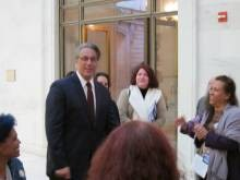 Ross Mirkarimi greets supporters minutes before testifying in front of the Ethics Commission. - ALBERT SAMAHA