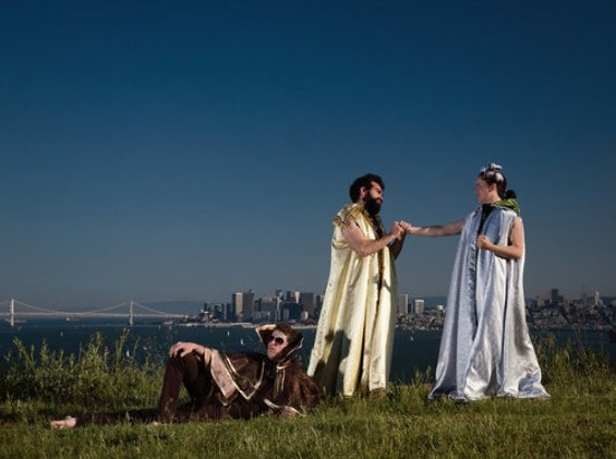Ross Travis as Hermes, Nathaniel Justiniano as Zeus and Julie Douglas as Athena in the We Players' production of The Odyssey on Angel Island. - TRACY MARTIN