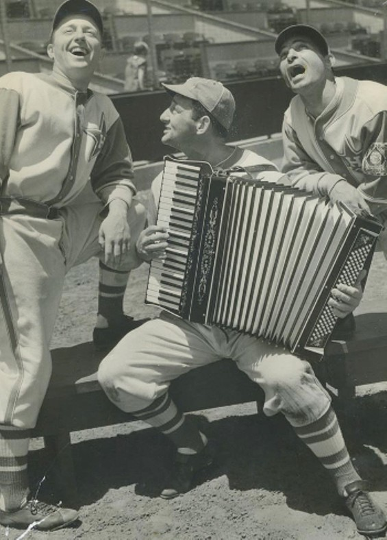 Rugger Ardizoia, George Puccinelli and Ernie Orsatti  singing in their Hollywood Stars uniforms, 1939. Ardizoia and Puccinelli grew up in San Francisco. Orsatti is from Southern California, but we won't hold that against him.
