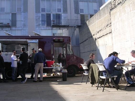 Ryan Scott's 3-Sum Eats truck is making the Ritch Street lot its home base. - JOHN BIRDSALL