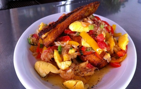 Salt cod and ackee at Miss Ollie's. - MOLLY GORE