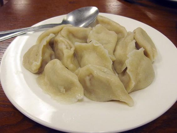 San Dong House BBQ's pork dumplings: Great flavor. - LUIS CHONG