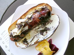 JOHN BIRDSALL - Sandwich of house-made maple andouille with Treviso chicory at Locavore.