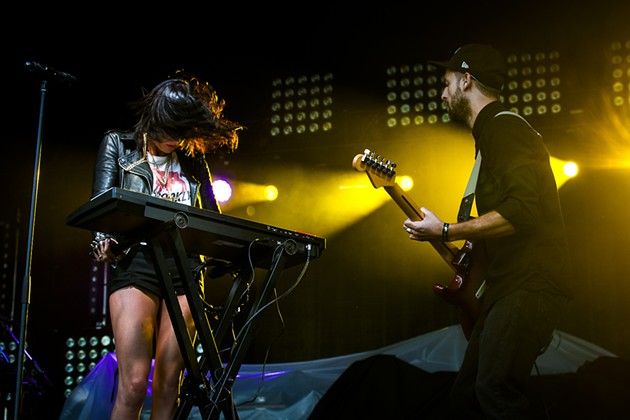 Sarah Barthel and Josh Carter of Phantogram played a high-energy set. - ASA MOORE