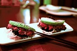 JUAN PARDO - Saru's snazzed-up spicy tuna roll.