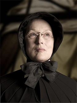 School principal Sister Aloysius (Meryl Streep) sets the machinery of blind justice into gear.