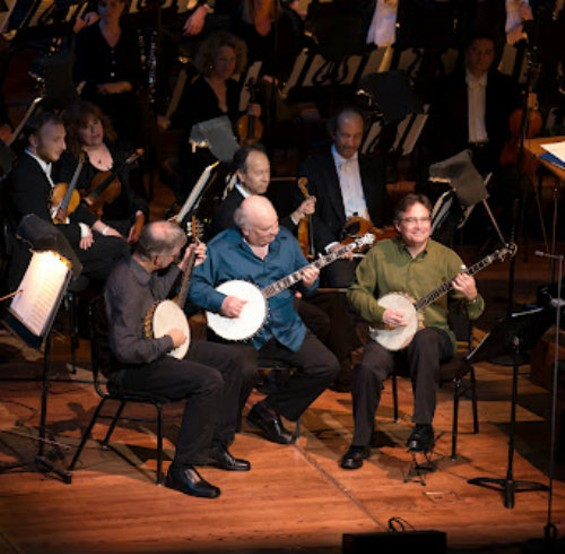 Scott Nygaard, Jody Stecher, and Bill Evans with the S.F. Symphony.