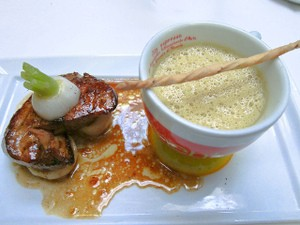 Seared foie gras and foie gras soup, a past preparation from La Folie. - JOHNNYMD314/FLICKR