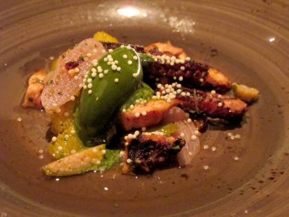 Seared Octopus with olive oil, green shiso sorbet, crispy garlic, and pickled onions - LOU BUSTAMANTE