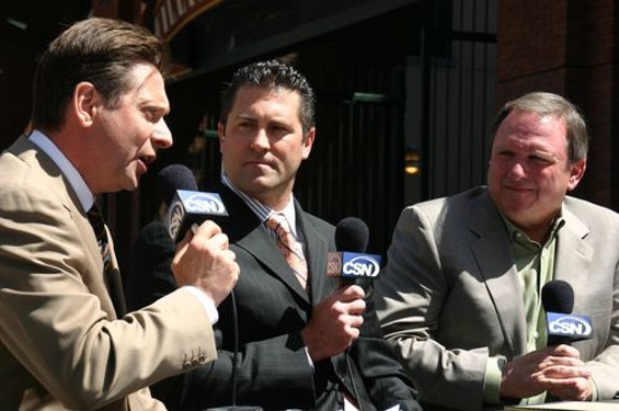 Seasoned yappers Greg Papa and Gary Radnich flank former longtime Giant Rich Aurilia, who has traded his spikes for the mic