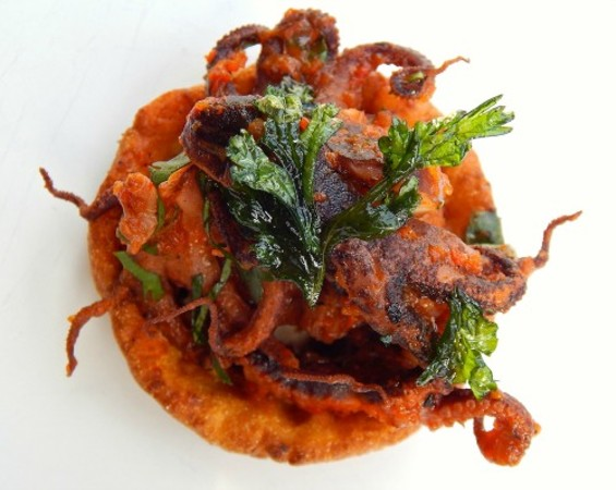 Second Course: Tequila Braised Baby Octopus Sopes, Blistered Salsa and House-Made Creme Fraiche. - TANGO & STACHE