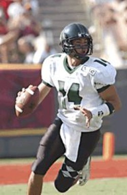 See University of Hawaii quarterback Timmy Chang - play at the East West Shrine Game.
