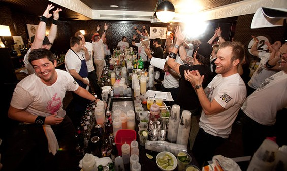 Semifinalists in the Cocktail World Cup celebrate Sunday. Winner Michael Callahan is in the black shirt and cap, on the right. - 42BELOW