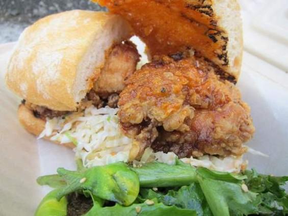 Seoul Patch's Korean fried chicken sando. - JONATHAN KAUFFMAN