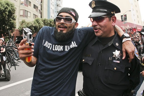 Sergio Romo and a friend. More photos: 2012 Giants World Series Parade - CHRISTOPHER VICTORIO