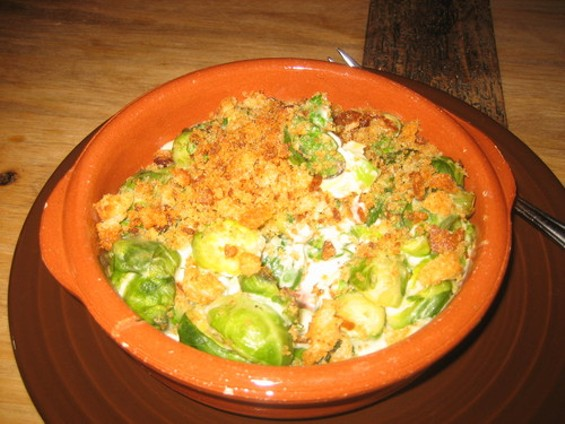 Seriously nutty: Queso fundido of cashew cheese and Brussels sprouts. - M. LADD